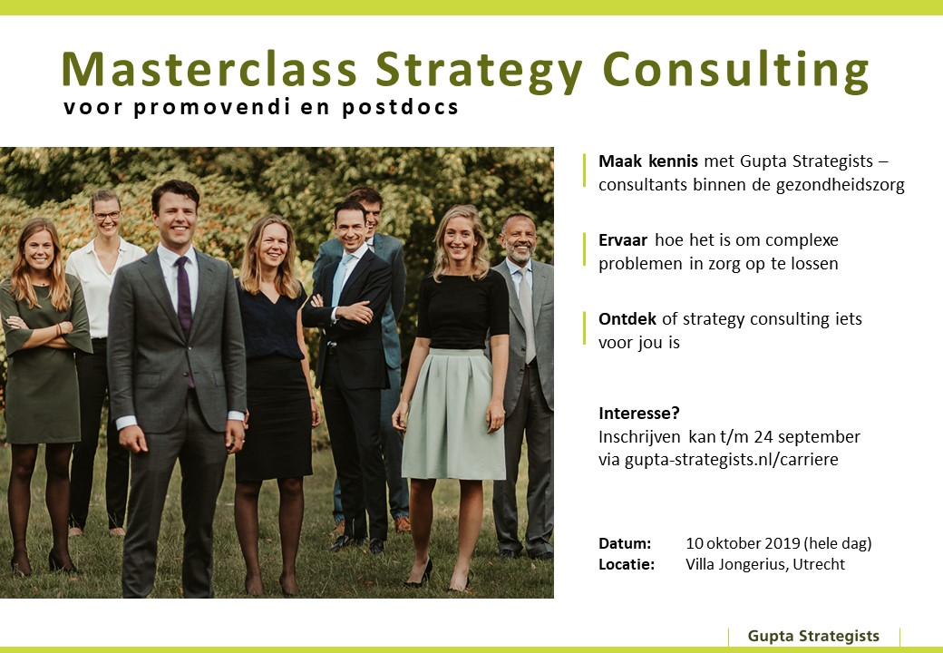 Masterclass Strategy Consulting voor promovendi and postdocs by Gupta Strategists (in Dutch)